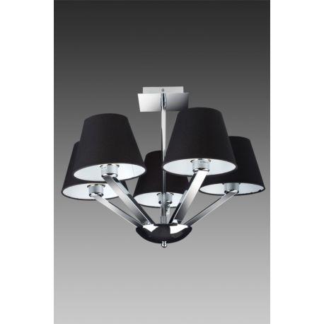 lampa wisząca ORLANDO 5 nikiel satynowy z czarnymi kloszami
