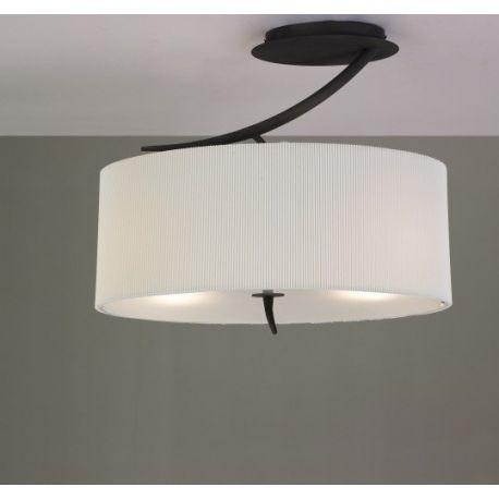 lampa sufitowa/plafon EVE 2L antracyt z kremowym kloszem