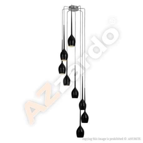 lampa wisząca IZZA 8 czarna ŻARÓWKI LED GRATIS!